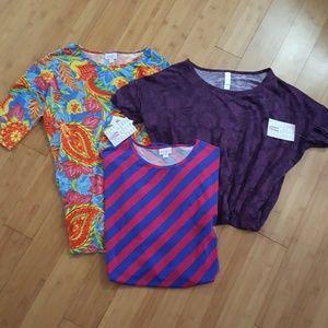 Bundle of 3 LuLaRoe Irma tunic shirts